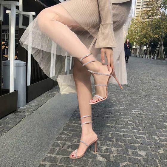 Charming Amazing / Unique Blushing Pink Rave Club Leather Womens Sandals 2020 Rhinestone 10 cm Stiletto Heels Open / Peep Toe Sandals