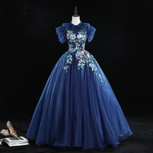 Vintage / Retro Navy Blue Prom Dresses 2019 Ball Gown Ruffle High Neck Rhinestone Pearl Lace Flower Short Sleeve Backless Floor-Length / Long Formal Dresses