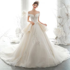 Luxury / Gorgeous Champagne Wedding Dresses 2020 A-Line / Princess Off-The-Shoulder Beading Rhinestone Sequins Lace Flower Sleeveless Backless Royal Train