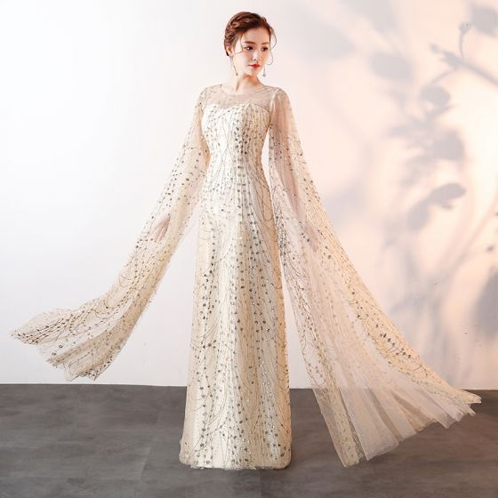 Sparkly Bling Bling Champagne Floor-Length / Long Evening Dresses  2018 A-Line / Princess Tulle U-Neck Beading Sequins Evening Party Formal Dresses