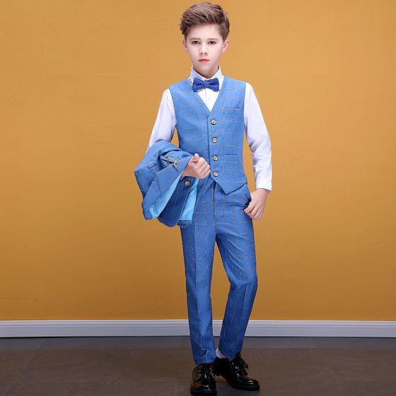 Modest / Simple Pool Blue Checked Boys Wedding Suits 2020 Coat Pants Shirt Tie Vest