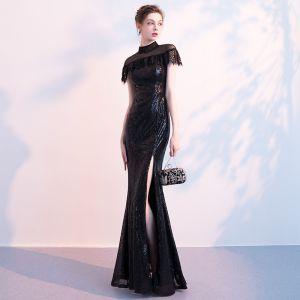Sparkly Black Sequins Evening Dresses  2018 Trumpet / Mermaid See-through High Neck Short Sleeve Split Front Floor-Length / Long Formal Dresses