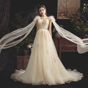 Chic / Beautiful Champagne See-through Wedding Dresses 2019 A-Line / Princess Deep V-Neck Sleeveless Backless Appliques Lace Beading Pearl Feather Sash Court Train Ruffle