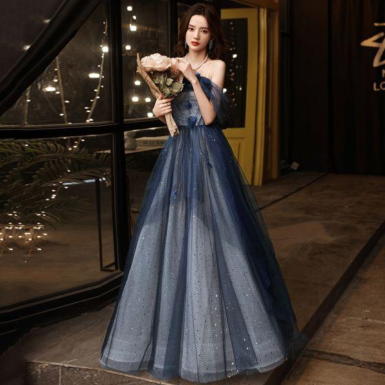 Charming Ocean Blue Prom Dresses 2021 A-Line / Princess Off-The-Shoulder Beading Appliques Sequins Sleeveless Backless Floor-Length / Long Formal Dresses