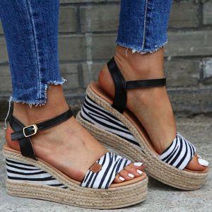 Affordable Black Street Wear Zebra Pattern Womens Sandals 2020 5 cm Wedges Open / Peep Toe Sandals