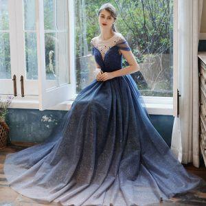 Gwiaździste Niebo Granatowe Sukienki Wieczorowe 2020 Princessa Przezroczyste Wycięciem Kótkie Rękawy Frezowanie Cekinami Tiulowe Długie Wzburzyć Bez Pleców Sukienki Wizytowe