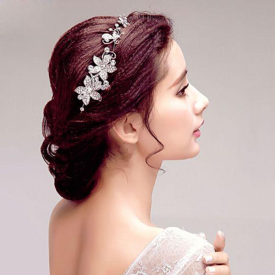 Glans Rhinestone Blomst Brude Headpieces
