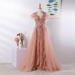 Luxus / Herrlich Pearl Rosa Abendkleider 2020 A Linie U-Ausschnitt Quaste Handgefertigt Perlenstickerei Strass Spitze Blumen Ärmellos Sweep / Pinsel Zug Festliche Kleider