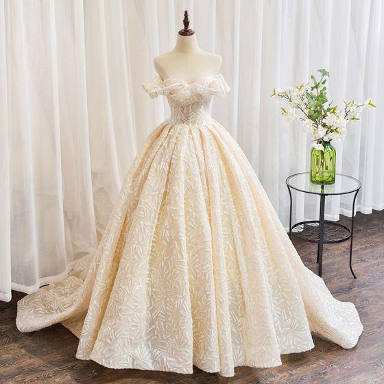 Charmant Champagner Brautkleider / Hochzeitskleider 2020 Ballkleid Bandeau Pailletten Ärmellos Rückenfreies Kathedrale Schleppe