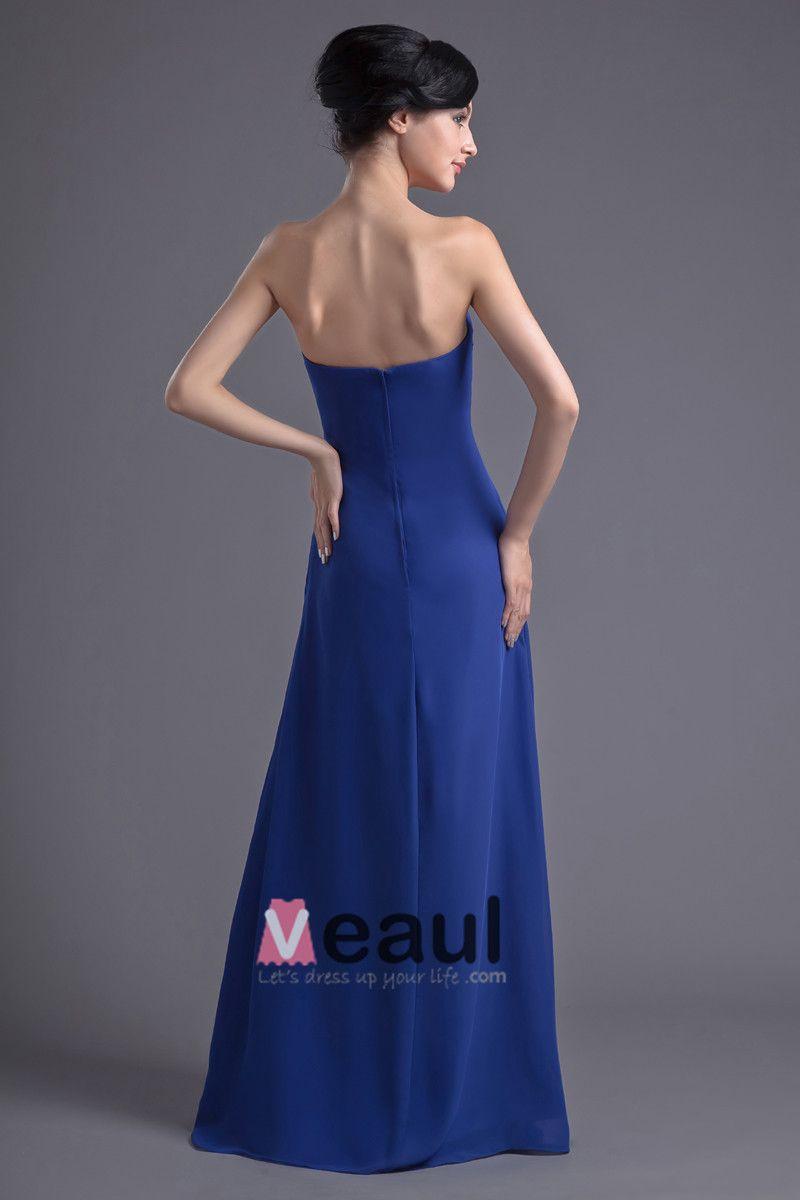 Mousseline De Soie Cherie Etage Robe De Demoiselle D'honneur De Longueur Plisse De Mode