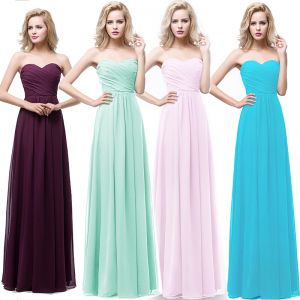 Modest / Simple Chiffon Bridesmaid Dresses 2018 A-Line / Princess Sweetheart Sleeveless Floor-Length / Long Ruffle Backless Wedding Party Dresses