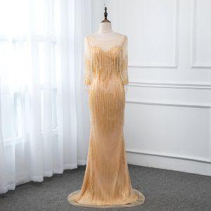 Luxus / Herrlich Gold Durchsichtige Abendkleider 2019 Meerjungfrau Rundhalsausschnitt 3/4 Ärmel Perlenstickerei Quaste Lange Festliche Kleider