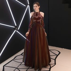 Chic / Beautiful Burgundy Evening Dresses  A-Line / Princess Strapless Lace Flower Puffy Long Sleeve Backless Floor-Length / Long Formal Dresses
