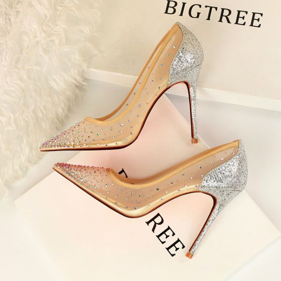 Chic / Beautiful Silver Evening Party Pumps 2019 Rhinestone 10 cm High Heels Stiletto Heels Pointed Toe Pumps