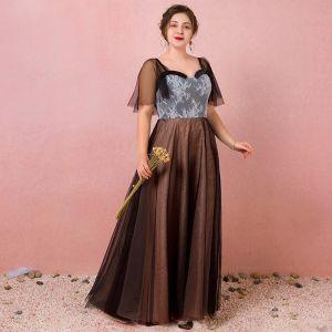 Classique Élégant Noire Grande Taille Robe De Soirée 2018 Été Tulle Lacer V-Cou Princesse Appliques Dos Nu Soirée Robe De Ceremonie