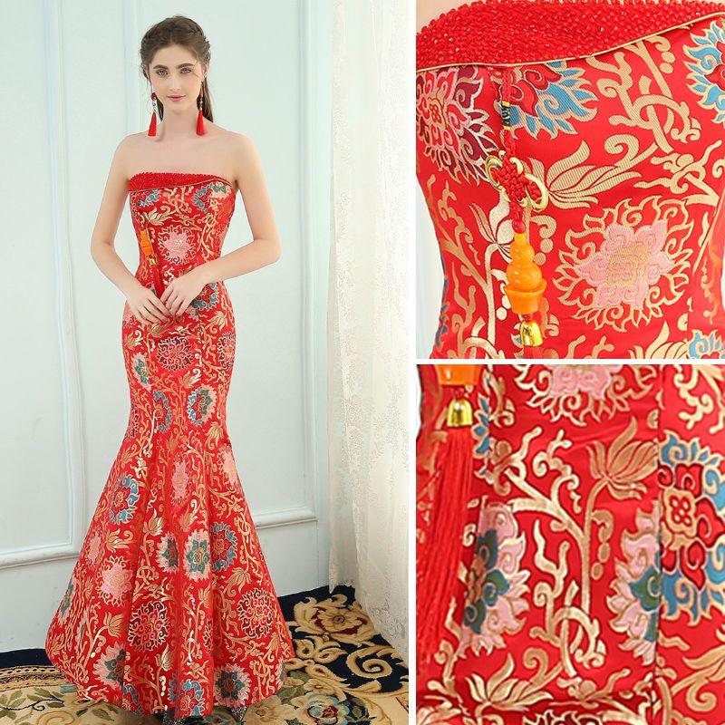 Style Chinois Rouge Robe De Soirée 2019 Trompette / Sirène Bustier Cristal Sans Manches Dos Nu Impression Longue Robe De Ceremonie