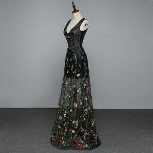 Seksowne Czarne Przezroczyste Sukienki Wieczorowe 2019 Princessa V-Szyja Aplikacje Z Koronki Kwiat Perła Rhinestone Bez Rękawów Bez Pleców Długie Sukienki Wizytowe