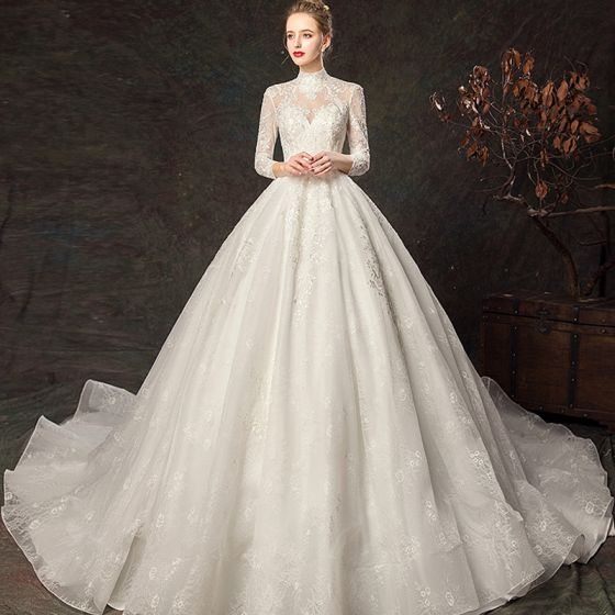 Elegant Ivory Wedding Dresses 2019 Ball Gown High Neck Lace Flower 3 4 Sleeve Backless Royal Train