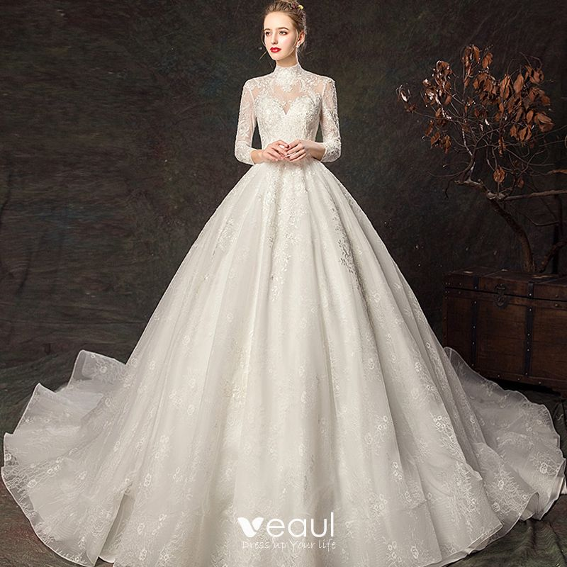 Elegant Ivory Wedding Dresses 2019 Ball Gown High Neck
