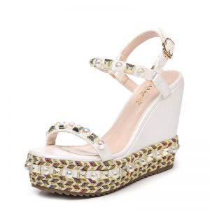 Chic / Beautiful Outdoor / Garden Womens Sandals 2017 PU Braid Pearl Rivet Wedges Open / Peep Toe Sandals