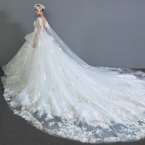 Luxury / Gorgeous Ivory Wedding Dresses 2018 Ball Gown Lace Appliques Rhinestone Cascading Ruffles Scoop Neck Backless Sleeveless Watteau Train Wedding
