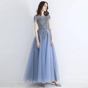 Chic / Beautiful Sky Blue See-through Evening Dresses  2019 A-Line / Princess Square Neckline Short Sleeve Beading Tassel Floor-Length / Long Ruffle Backless Formal Dresses