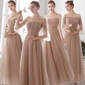 Elegante Champagner Durchsichtige Brautjungfernkleider 2019 A Linie Lange Rüschen Rückenfreies Kleider Für Hochzeit