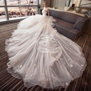 Elegant Ivory Wedding Dresses 2018 Ball Gown Lace Flower Pearl Cascading Ruffles Strapless Backless Sleeveless Royal Train Wedding