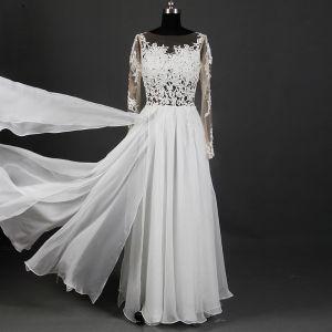 Klassieke Elegante Ivoor Lange Huwelijk 2018 A lijn U-hals Tule Lace-up Appliques Ruglooze Doorboord Doorzichtige Trouwjurken