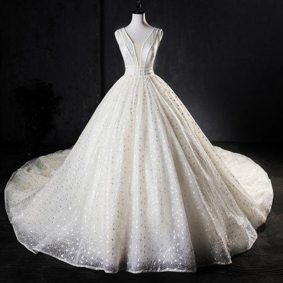 Best Ivory Handmade  Beading Wedding Dresses 2019 A-Line / Princess V-Neck Glitter Tulle Sleeveless Backless Cathedral Train