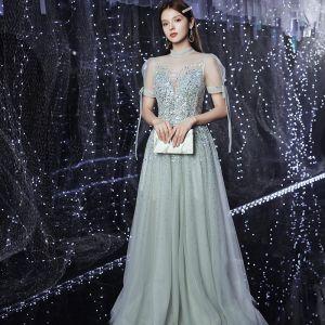 Haut de Gamme Argenté Transparentes Dansant Robe De Bal 2020 Princesse Col Haut Gonflée Manches Courtes Paillettes Perlage Faux Diamant Longue Volants Dos Nu Robe De Ceremonie