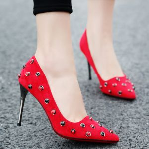 Chic / Beautiful Red Evening Party Womens Shoes 2018 Leather Suede Rivet 9 cm Stiletto Heels Pointed Toe Pumps