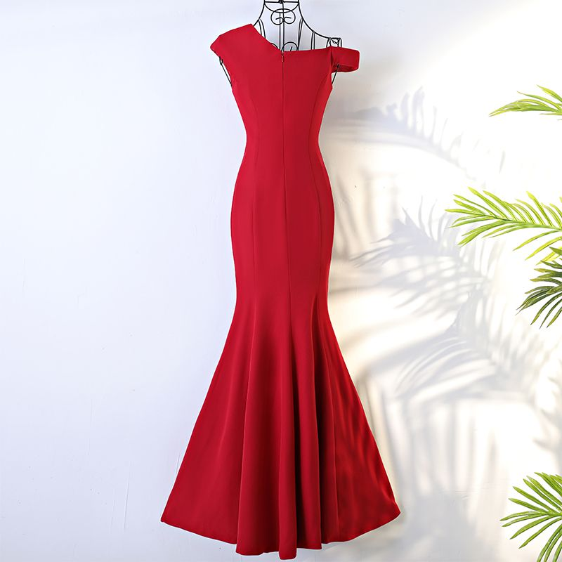 Chic / Beautiful Red Evening Dresses  2017 Trumpet / Mermaid Cascading Ruffles Backless One-Shoulder Short Sleeve Floor-Length / Long Formal Dresses