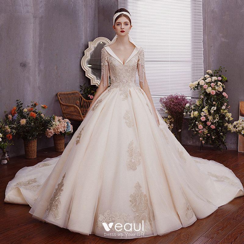 Charming Champagne Wedding Dresses Ball Gown 2019 Deep V