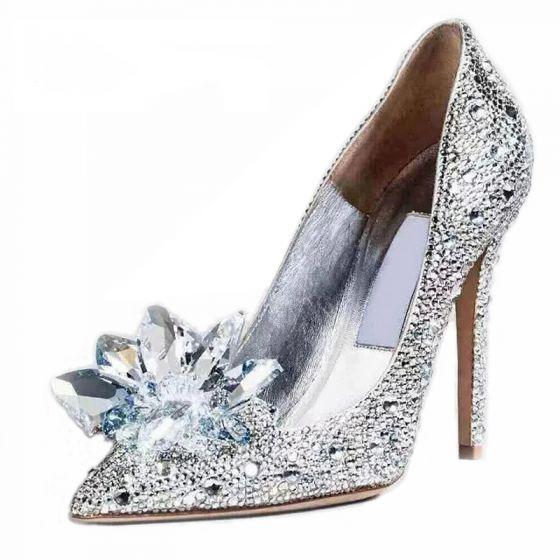 Nydelig Sparkly Cinderella Brudesko Stiletthæler Pumps Med Krystall