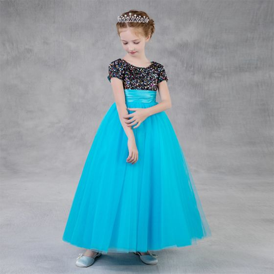 Chic / Beautiful Jade Green Birthday Flower Girl Dresses 2020 Empire Scoop Neck Short Sleeve Sequins Floor-Length / Long Ruffle