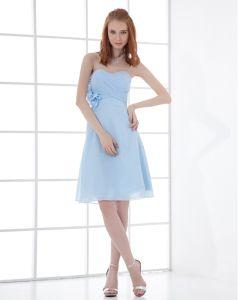 Fashion Chiffon Pleated Flower Sweetheart Knee Length Bridesmaid Dress