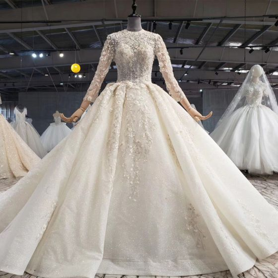 Luxury / Gorgeous Glamorous Champagne Ball Gown Wedding Dresses 2020 Long Sleeve Scoop Neck Crossed Straps 3D Lace Handmade  Appliques Backless Beading Crystal Flower Rhinestone Sequins Cathedral Train Wedding