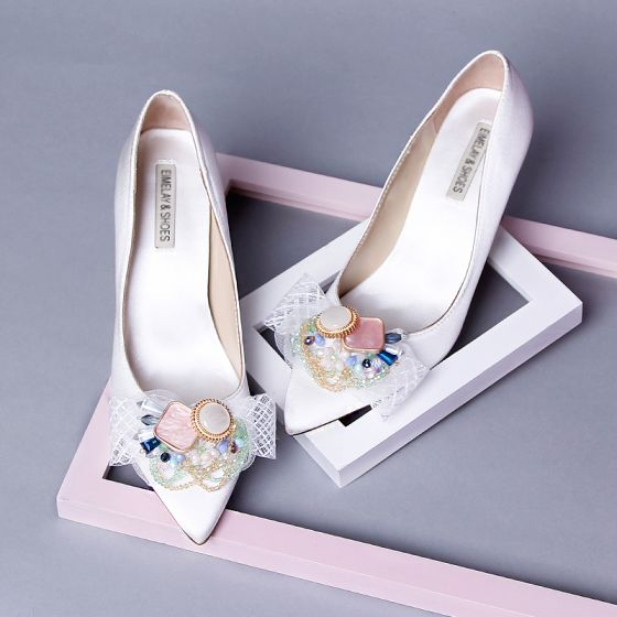 Chic / Beautiful Ivory Dating Crystal Pumps 2020 Leather Bow 9 cm Stiletto Heels Pointed Toe Pumps