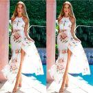 Mooie / Prachtige Ivoor Voorjaar Strand Maxi-jurken 2019 Het Drukken Houder Ruglooze Mouwloos Split Voorzijde Enkellange Dameskleding