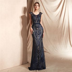 Elegant Navy Blue See-through Lace Evening Dresses  2020 Trumpet / Mermaid Scoop Neck Sleeveless Sequins Floor-Length / Long Ruffle Formal Dresses