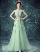 Sexy Lace Evening Dress Long Green Tulle Dress With Flowers