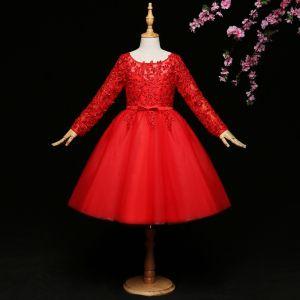 Mooie / Prachtige Rode Bloemenmeisjes Jurken 2017 Baljurk Kant Strik Pailletten Ronde Hals Lange Mouwen Korte Jurken Voor Bruiloft