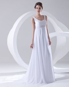 Round Neck Sleeveless Zipper Beading Ruffle Floor Length Woman Empire Wedding Dress