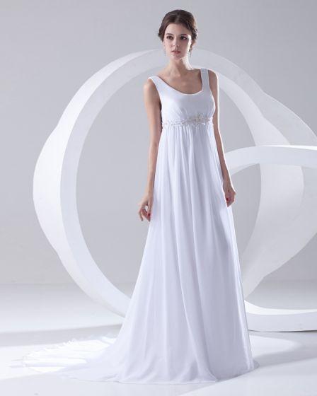 Round Neck Sleeveless Zipper Beading Ruffle Floor Length Woman Empire Wedding Dress