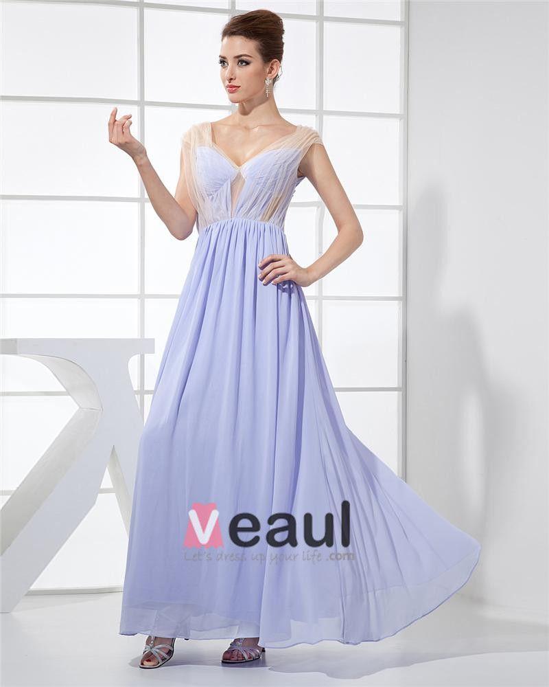 Mousseline De Soie Charmeuse De Soie Gaze Col En V Etage Longueur Sans Manches Femmes Robe De Soirée De Mode