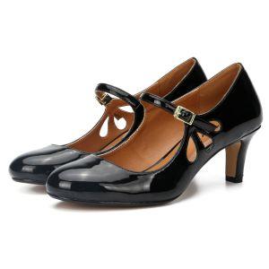 Enkel Svart Casual Sandaler Dame 2020 Patent Lær 6 cm Stiletthæler Rund Tå Sandaler