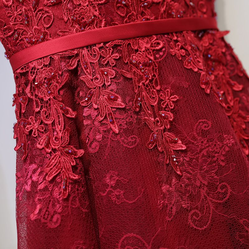 Chic / Beautiful Red Formal Dresses Evening Dresses  2017 Lace Flower Sequins Strappy V-Neck Sleeveless Asymmetrical A-Line / Princess