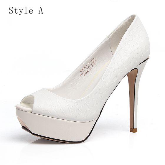 Chic / Beautiful Prom Wedding Shoes 2017 PU Alligator Print Platform Open / Peep Toe High Heel Pumps