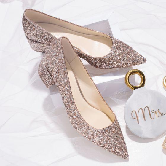 Scintillantes Doré Chaussure De Mariée 2019 Cuir Paillettes 6 cm Talons Aiguilles À Bout Pointu Mariage Escarpins